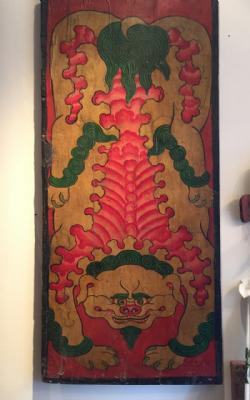 Tibetan Painted Door Panel depicting a mythical mountain lion <b>SOLD<b>